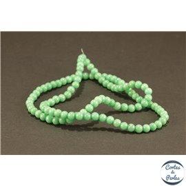 Perles semi précieuses en jade mashan - Rondes/4 mm - Vert Océan