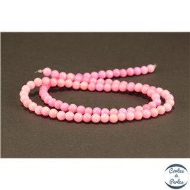 Perles semi précieuses en jade mashan - Rondes/4 mm - Rose Flamant