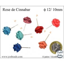 Perles semi précieuses en Cinabre - Fleur/12 mm - Multicolore
