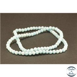 Perles semi précieuses en jade mashan - Rondes/4 mm - Turquoise Clair