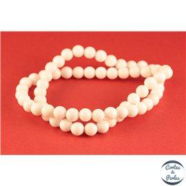 Perles semi précieuses en jade mashan - Rondes/6 mm - Blanc