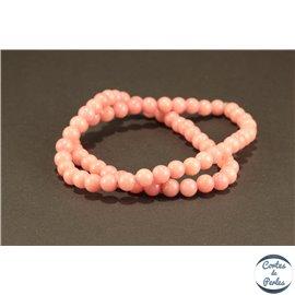Perles semi précieuses en jade mashan - Rondes/6 mm - Rose Pâle