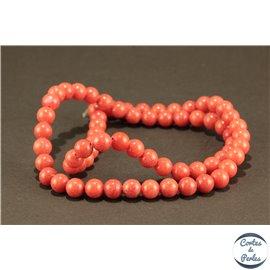 Perles semi précieuses en jade mashan - Rondes/6 mm - Fire Brick