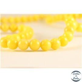 Perles semi précieuses en marbre - Rondes/6 mm - Jaune canari