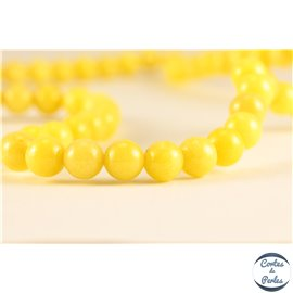 Perles semi précieuses en jade mashan - Rondes/6 mm - Jaune Canari