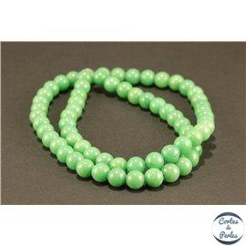 Perles semi précieuses en marbre - Rondes/6 mm - Vert océan