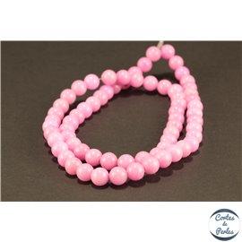 Perles semi précieuses en jade mashan - Rondes/6 mm - Rose Flamant