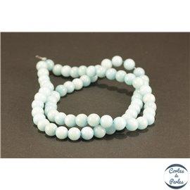 Perles semi précieuses en jade mashan - Rondes/6 mm - Turquoise Clair
