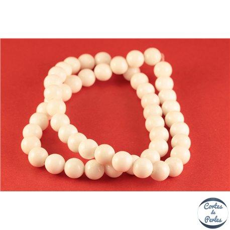 Perles semi précieuses en jade mashan - Rondes/8 mm - Blanc