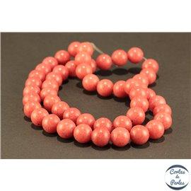 Perles semi précieuses en jade mashan - Rondes/8 mm - Fire Brick