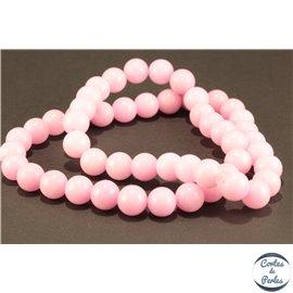 Perles semi précieuses en jade mashan - Rondes/8 mm - Rose Flamant