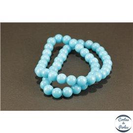 Perles semi précieuses en jade mashan - Rondes/8 mm - Turquoise Clair