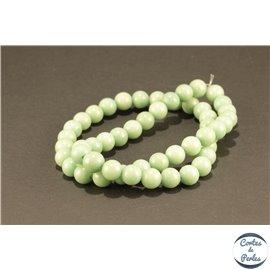 Perles semi précieuses en jade mashan - Rondes/8 mm - Kaki