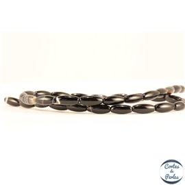 Perles semi précieuses en agate - Ovales/12 mm - Noir