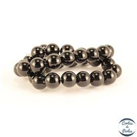 Perles en agate noire - Rondes/12mm - Grade A