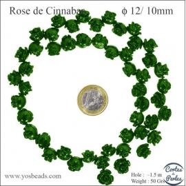 Perles semi précieuses en Cinabre - Fleur/12 mm - Vert
