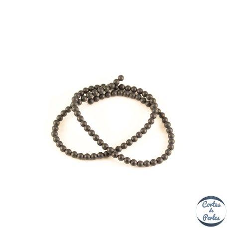 Perles semi précieuses en agate - Rondes/4 mm - Noir - Grade A