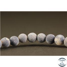Perles semi précieuses en agate - Rondes/6 mm - Gris bleuté dépoli