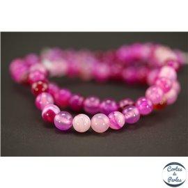 Perles semi précieuses en agate - Rondes/6 mm - Violet Rosé