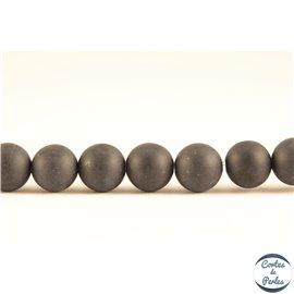 Perles mates en agate noire - Rondes/6mm - Grade A