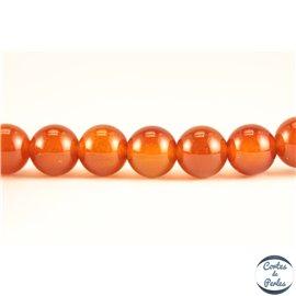 Perles semi précieuses en agate cornaline - Rondes/6 mm - Dark orange