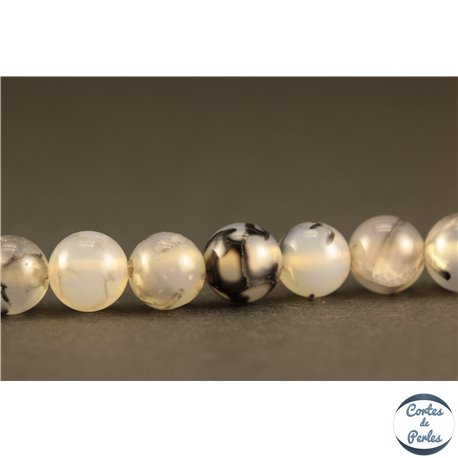 Perles semi précieuses en Agate - Rondes/6 mm - Gris Marbré