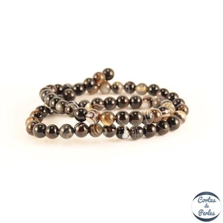 Perles semi précieuses en Agate - Rondes/6 mm - Noir