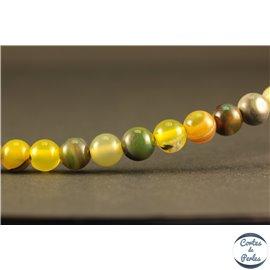 Perles semi précieuses en agate - Rondes/6 mm - Vert jaune