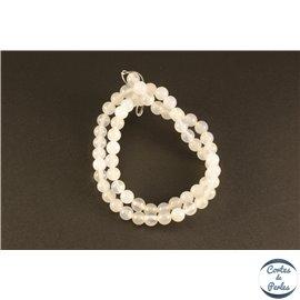 Perles semi précieuses en Agate - Rondes/6 mm - Blanc Foggy