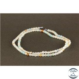 Perles semi précieuses en agate - Rondes/3 mm - Aquamarine