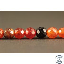 Perles semi précieuses en agate - Rondes/6 mm - Rouge et noir