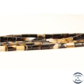 Perles semi précieuses en Agate - Tube/3 mm - Noir