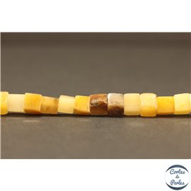 Perles semi précieuses en jade - Cubes/4 mm - Topaze