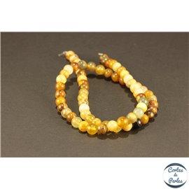 Perles semi précieuses en jade xiuyan - Rondes/6 mm - Miel