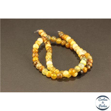 Perles semi précieuses en Jade Xiuyan - Ronde/6 mm - Miel