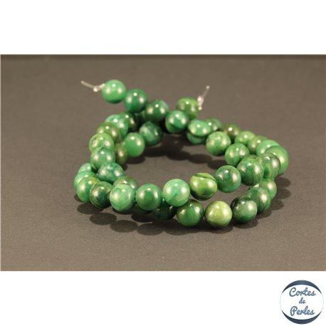 Perles semi précieuses en Jade west Africa - Ronde/8 mm - Vert Malachite