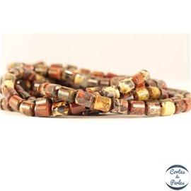 Perles semi précieuses en jaspe breschia - Tubes/6 mm - Maroon