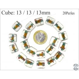 Perles en verre - Cubes/13 mm - Bleu et doré