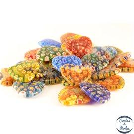Perles Millefiori en Verre - Cœur/25 mm - Multicolore