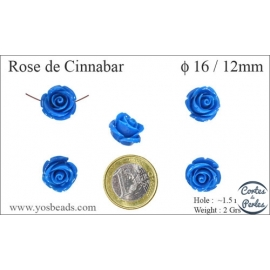 Perles semi précieuses en Cinabre - Fleur/16 mm - Bleu