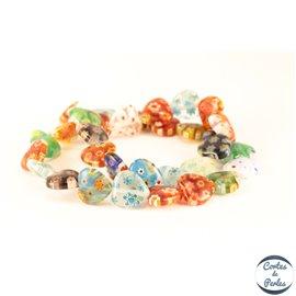 Perles Millefiori en Verre - Cœur/12 mm - Multicolore