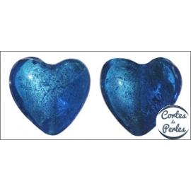Perles de Venise - Coeur/27 mm - Bleu