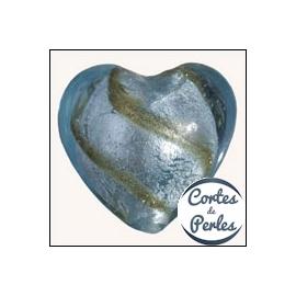 Perles de Venise - Coeur/28 mm - Bleu