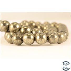 Perles semi précieuses en Pyrite - Ronde/10 mm - Grade A
