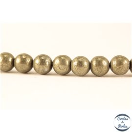 Perles semi précieuses en pyrite - Rondes/6 mm - Grade A