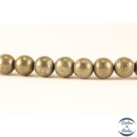 Perles semi précieuses en Pyrite - Ronde/6 mm - Grade A