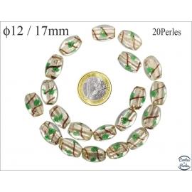 Perles de Venise - Ovale/12 mm - Vert