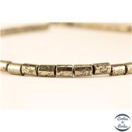 Perles semi précieuses en pyrite - Tubes/4 mm