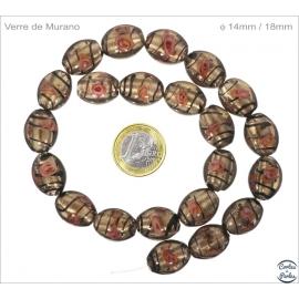 Perles de Venise - Ovale/14 mm - Argenté