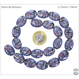 Perles de Venise - Ovale/14 mm - Bleu